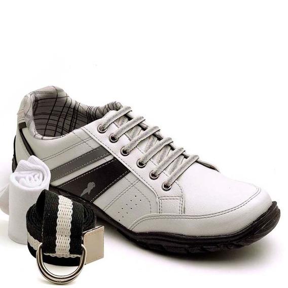 Sapatenis Sapato Barato Tenis Kit Cinto E Meia Polo Blu