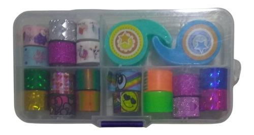 Box Fitas Washi Tape Adesiva Decorativa Artesanato C/suporte