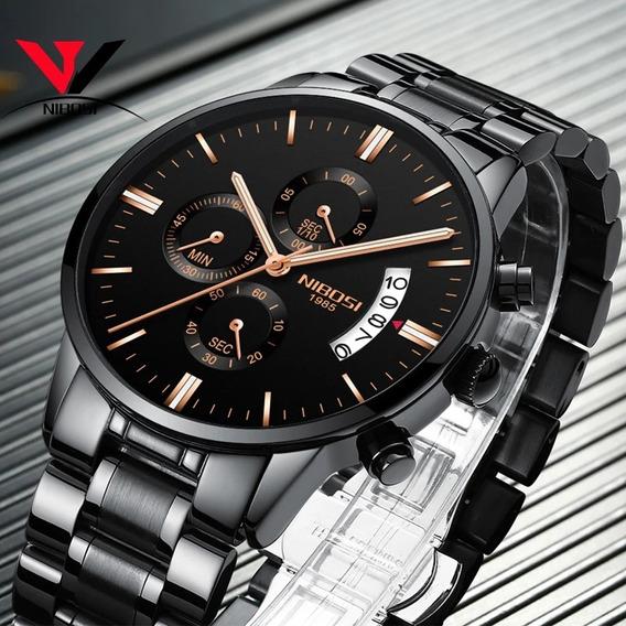 Relógio Masculino Nibosi Original Na Caixa A Prova D