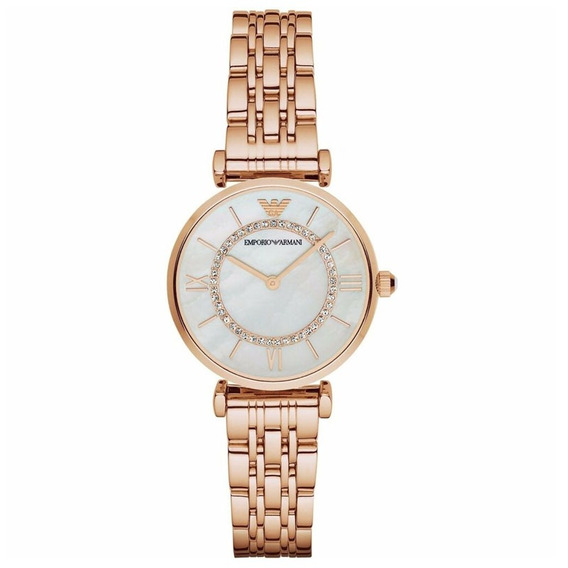 Reloj Analógico Marca Armani Modelo: Ar1909 Color Dorado Par