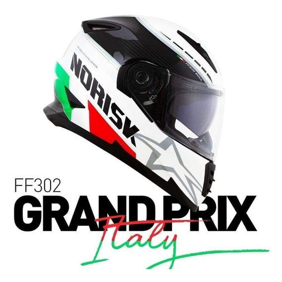 Capacete Norisk Ff302 Grand Prix Italy Com Viseira Interna Solar Bandeira Italia