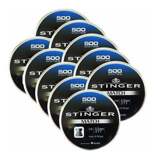 Kit 10 Caixas Chumbinho Stinger Match Calibre 4,5mm 500 Unid