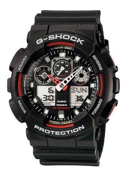 Relógio Casio Gshock Preto E Vermelho Ga 100 Ana/digital