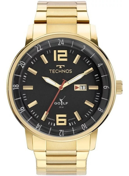 Relógio Technos Masculino Dourado Classic Golf 2115mwd/1p