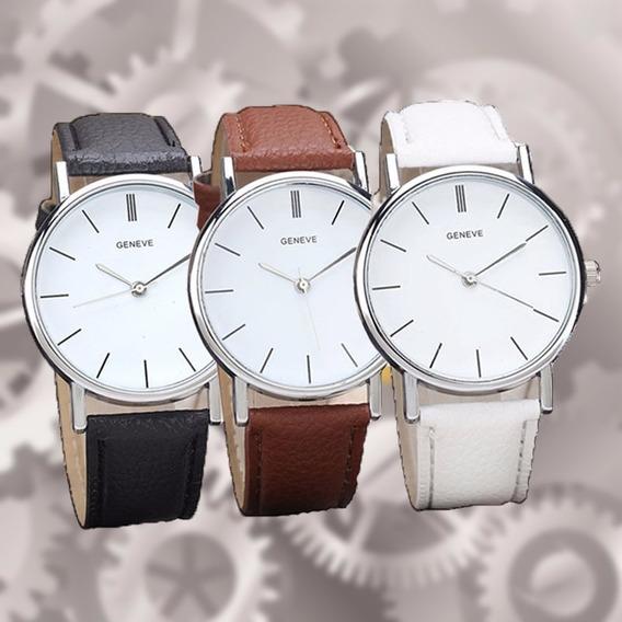 Relógio Analógico De Couro Da Moda Genebra,em Aço Inoxidável