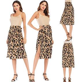 Sexy Mujeres Lápiz Falda Leopardo Impresión Encaje Arriba