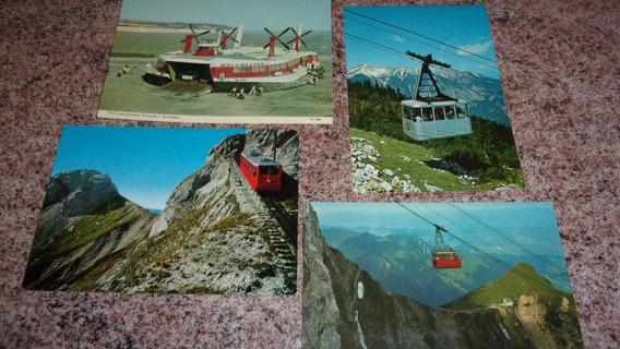 4 Postales Retro, Transporte Turístico En Europa