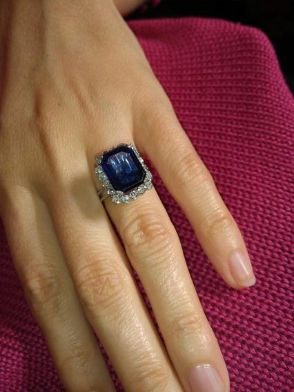 Anel Com Petra Azul E Transparentes Bijuteria Fina
