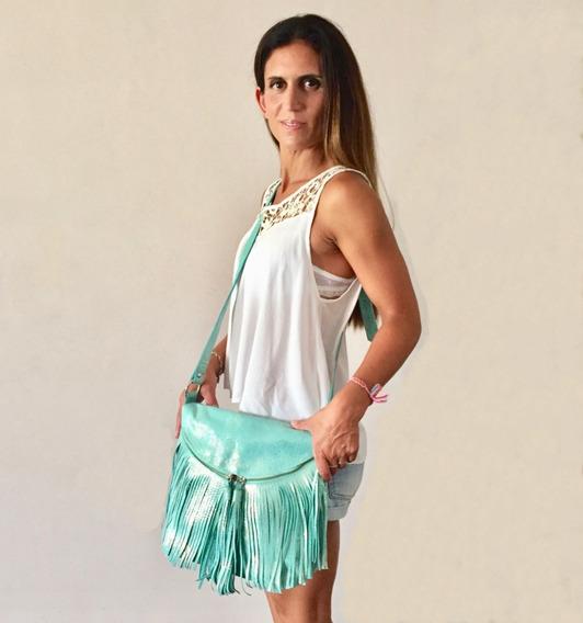 Cartera Morral De Cuero Con Flecos Hobo Style