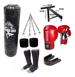 Kit Bolsa 1,80+s/relleno+cadenas+soporte+guante+venda+bucal