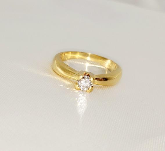 Anel De Noivado Solitário Em Ouro Amarelo 18k Diamante 30 Pt