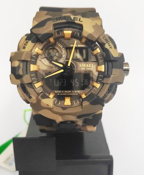 Relógio Masculino Militar Smael S Shock Esportivo Camuflado