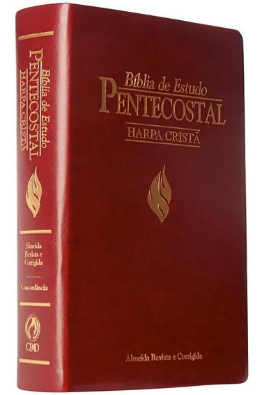Bíblia De Estudo Pentecostal Harpa Cristã Média Luxo Almeida