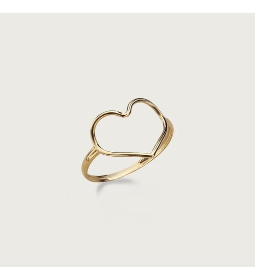 Anel Coração Vazado Em Ouro 18k