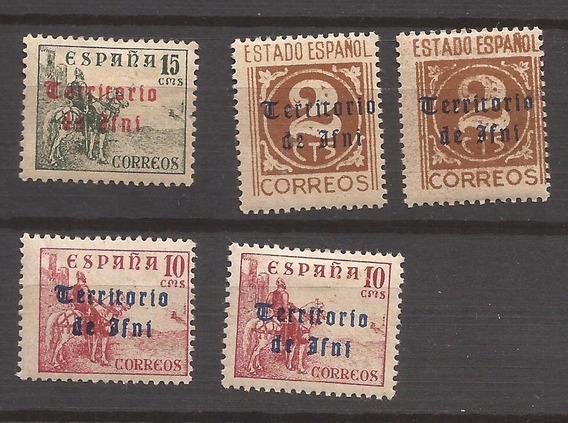 España Colonia Ifni 1949 Cinco Sellos Nuevos Sobreimpresos