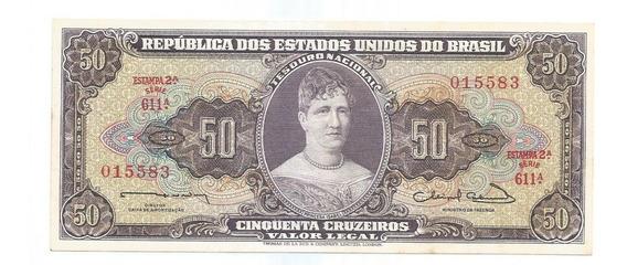 Brasil - C-093, 50 Cruzeiros, 1963, Série 611ª, Sob - Rara
