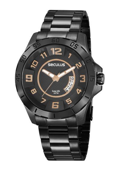 Relógio Seculus Masculino Ref: 20743gpsvpa2 Esportivo Black