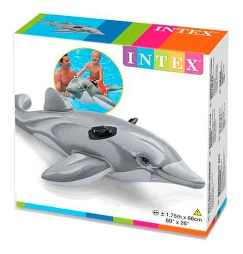 Flotador Gigante De Delfín Original Intex, 2.01 Cm De Largo
