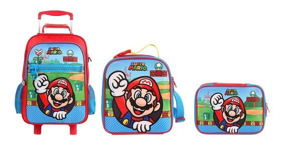 Mochila Infantil Super Mario G Com Lancheira E Estojo G - Dmw Original