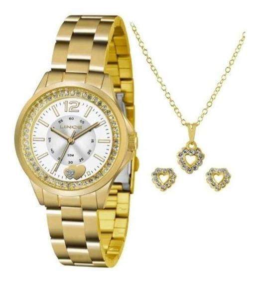 Relógio Lince Feminino Dourado + Kit Colar E Brincos
