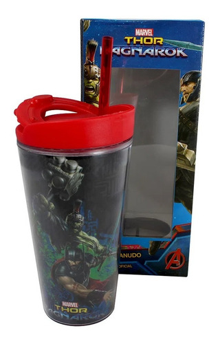 Imagem 1 de 4 de Copo Marvel Thor Ragnaeok Com Canudo Zona Criativa