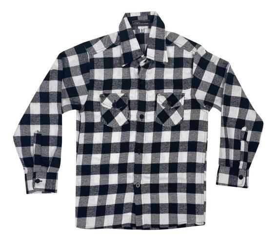 Camisa Infantil De Flanela Xadrez Menino