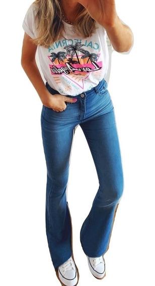 Jeans Jean Oxford Mujer Elastizado Tiro Alto Calce Perfecto Pata Elefante Negro Azul Blanco Talles