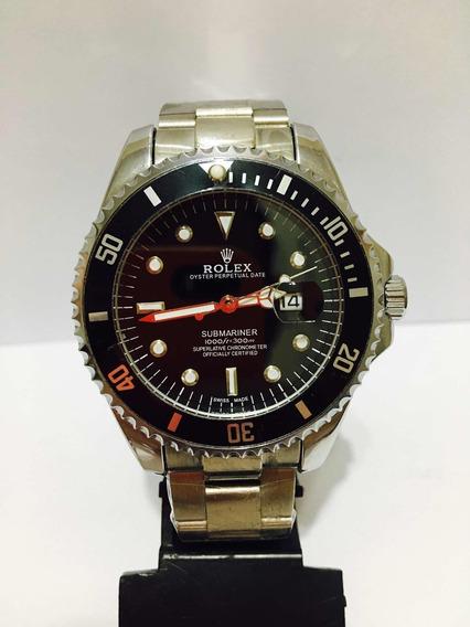 Relógio Em Aço Submariner Caixa Grande 45mm Prata Com Preto