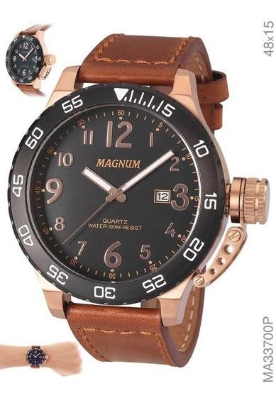 Relógio Masculino Magnum Cronógrafo Ma33700p Marrom