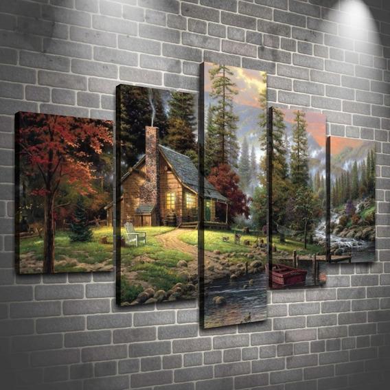 Cuadros Modernos Decorativos Poliptico De Paisajes - Canvas