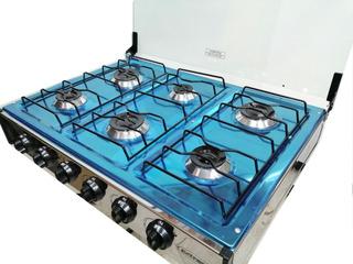 Cocineta A Gas 6 Quemadores Acero Inoxidable Tapa De Vidrio