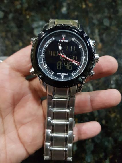 Relógio Naviforce Original Mostrador Duplo Nf9050 Prata