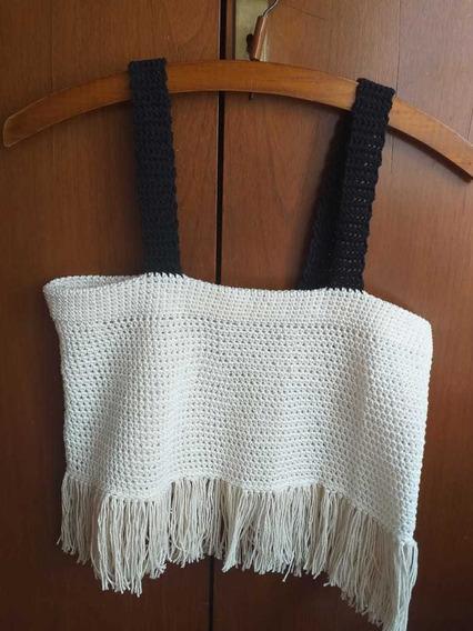 Top Tejido Crochet Con Flecos