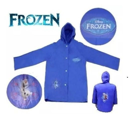 Capa De Chuva Infantil Frozen Disney - G Com Capuz + Brinde