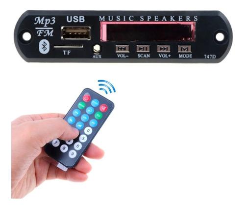 Imagen 1 de 6 de Modulo Bluetooth Aux Mp3 Usb Mp4 Fm C/control Auto 12v