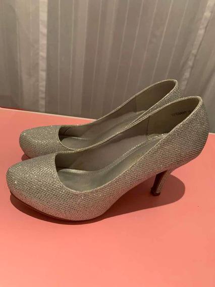 Zapatos De Princesa Plateados Plataforma Escondida