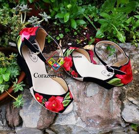 Sandalia Bordadas De Flores/plataforma Artesanal/ Chiapas