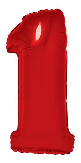 Globos Números Metalizados Rojo 34 Pulgadas X 1 - Cc