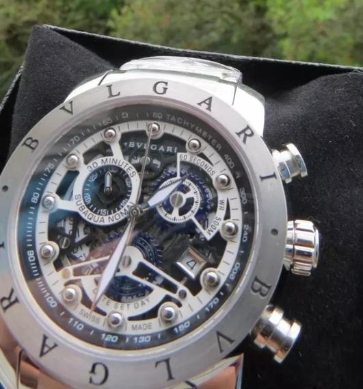 Relógio Bv Búlgari Skeleton Prata Original