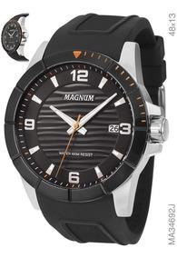 Relógio Magnum Esportivo Pulseira Borracha Ma34692j Preto