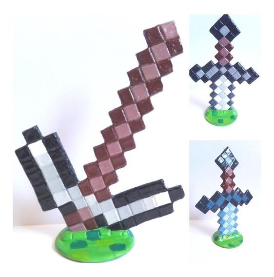 Espada Mine Craft Centro Torta Porcelana Fría (o Pico)