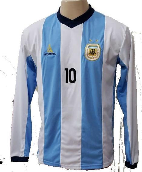 Camisa Argentina Listrada Manga Longa
