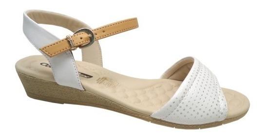 Sandália Comfortflex - 1674403 Branca E Bege