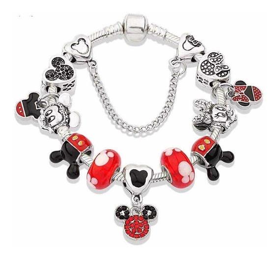 Pulsera Tipo Pandora Disney Mickey Mimi 12 Dijes Moda