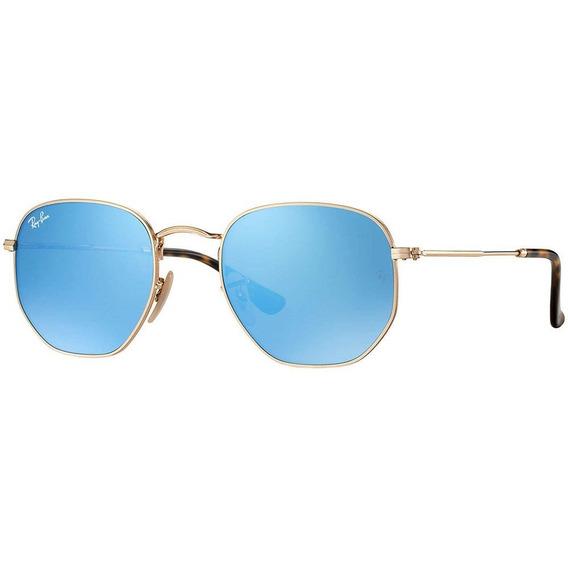 Ray-ban Hexagonal Rb3548n 001/9o - Dourado/azul Espelhado