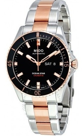 Relógio Automático Mido Ocean Star Preto Ouro Rosé Diver