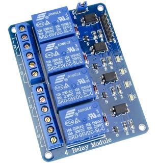 Modulo Rele 4 Canales 5v Arduino Bornera Contactos 250v 10a