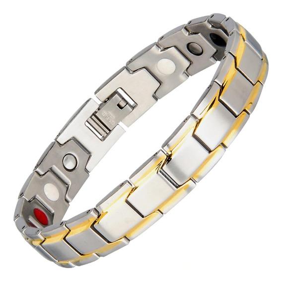 Pulseira Magnética Íon Unissex Energética Bracelete Aço Inox