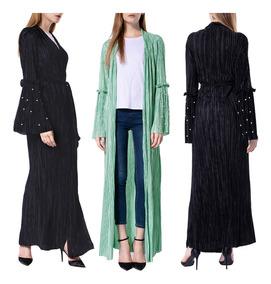 Women Kimono Cardigan Solid Pleated Beach Boho Outerwear