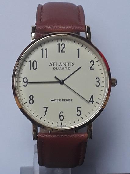 Relógio Masculino Social Atlantis Pulseira De Couro G3493c